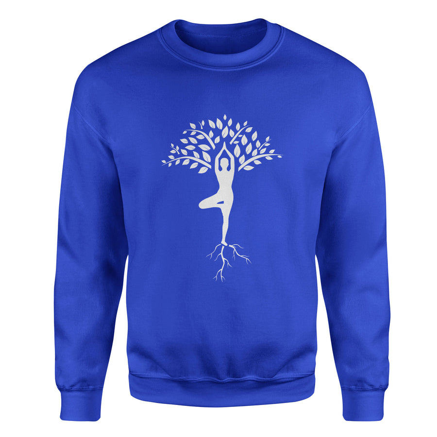 Yoga Tree Pose Vrishasana Adult Crewneck Sweatshirt - White Design