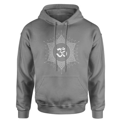 OM Mandala #6 Adult Hoodie Sweatshirt - White Design