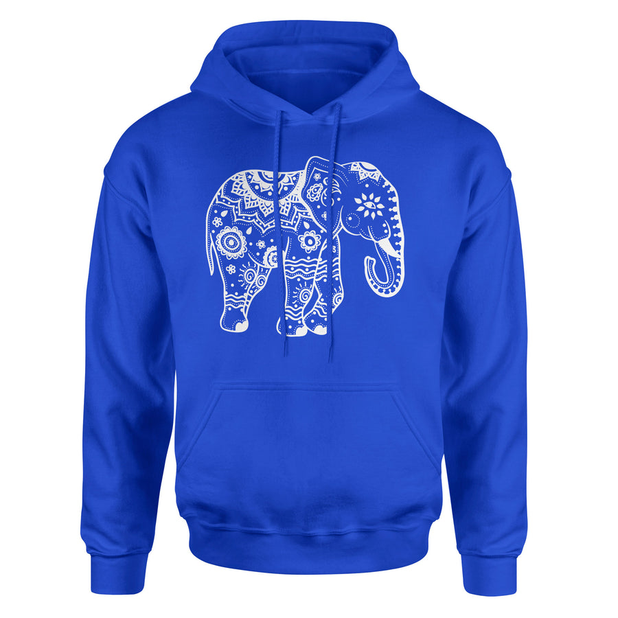 Tribal Elephant #1 Adult Hoodie Sweatshirt - White Design