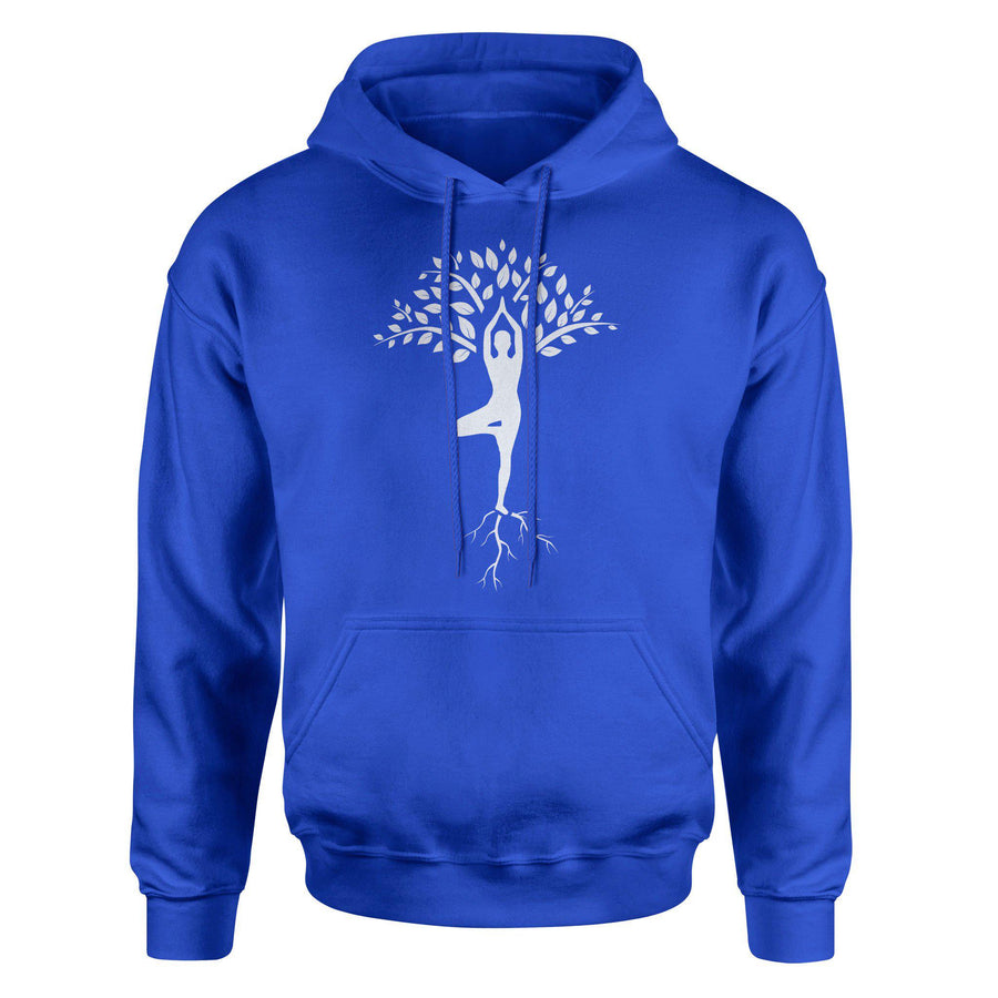 Tree Yoga Pose Vrkshasana Branches, Trunk and Roots Adult Hoodie Sweatshirt - White Design
