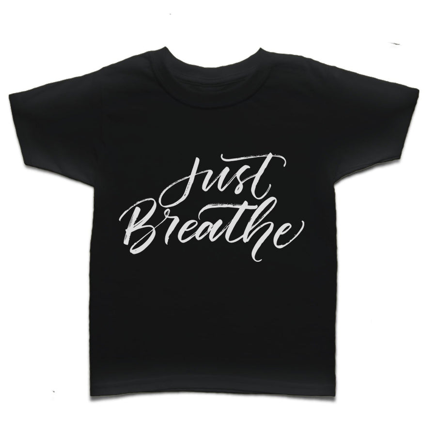 Just Breathe Hand-Drawn Calligraphy Yoga Kid's T-shirt