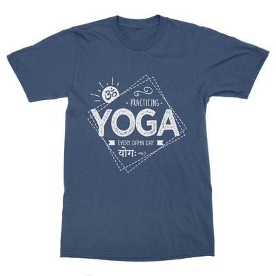 Practicing Yoga Every Damn Day Men's T-Shirt – White Design