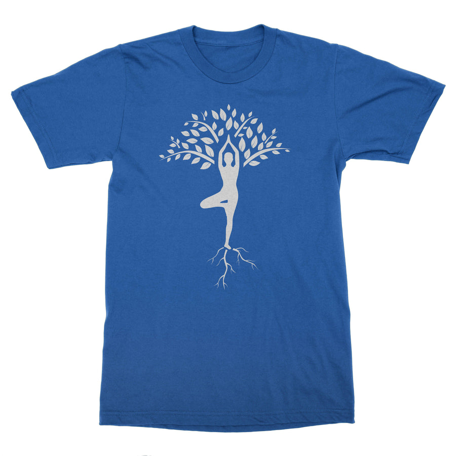 Tree Yoga Pose Vrikshasana Men's T-Shirt – White Design