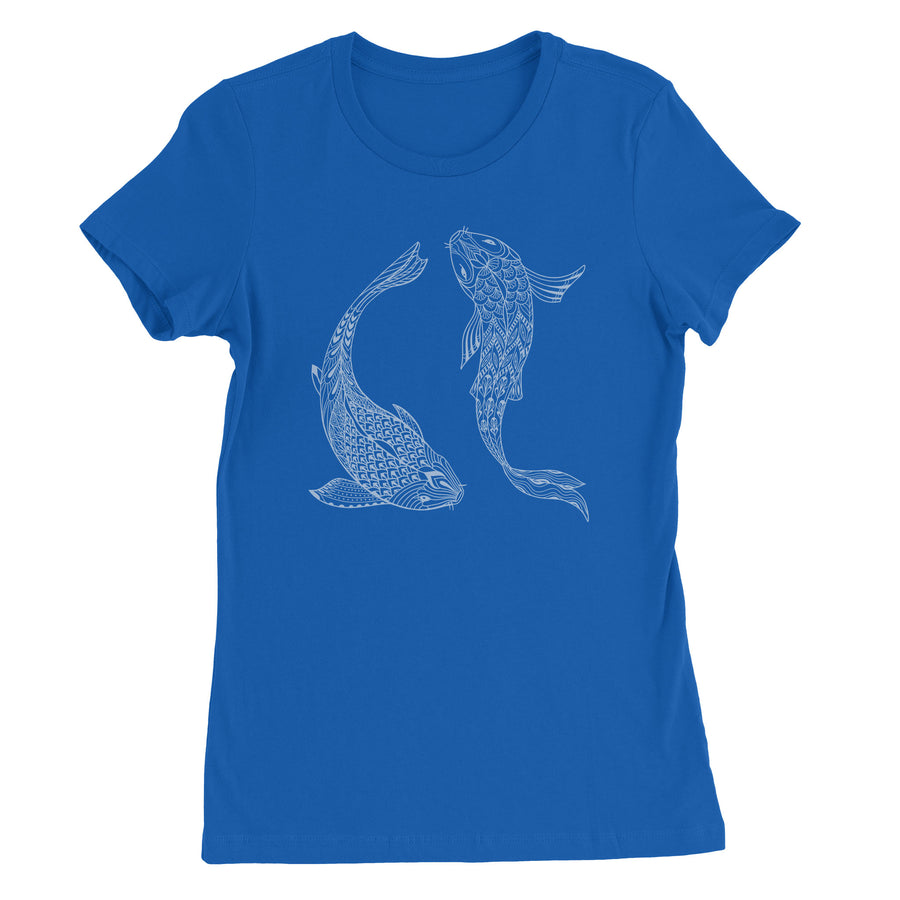 Yin Yang Koi Fish Women's T-Shirt - White Design