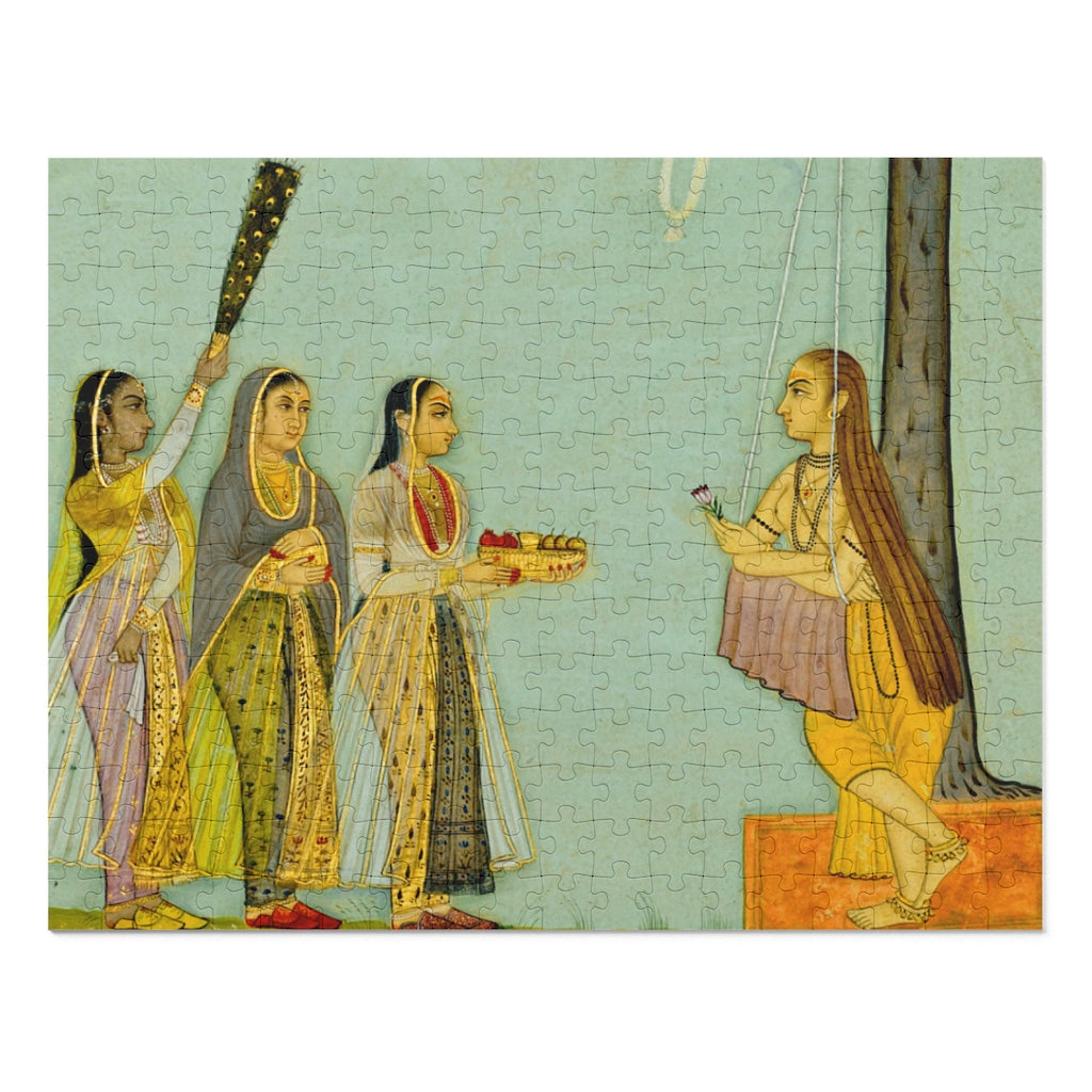 A Yogini Teaching Three Visitors Indian Painting 252 Piece Puzzle