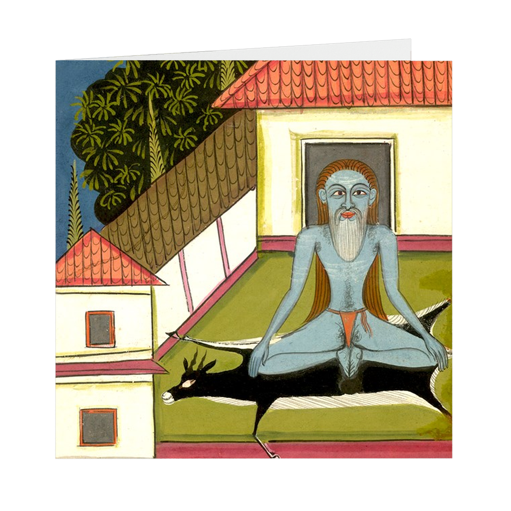 "Hatha Yoga Pradipika Yogi #4 Indian Painting - 5"" X 5"" Blank Greeting and Note Card"