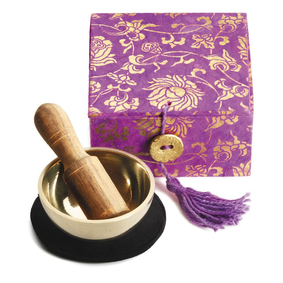 "Mini Meditation Bowl Box: 2"" Lotus, Purple - DZI (Fair Trade)"