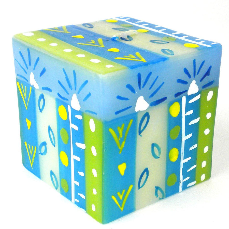 Hand Painted Candle - Cube - Ihlobo - Nobunto (Fair Trade)