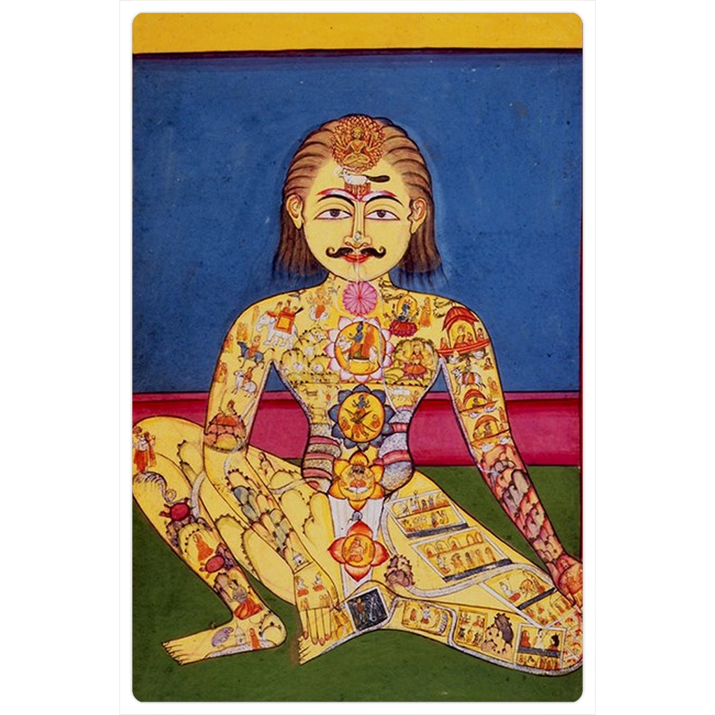 "Illustrated Yogi 4x6"" Classical Yoga Indian Art Magnet"