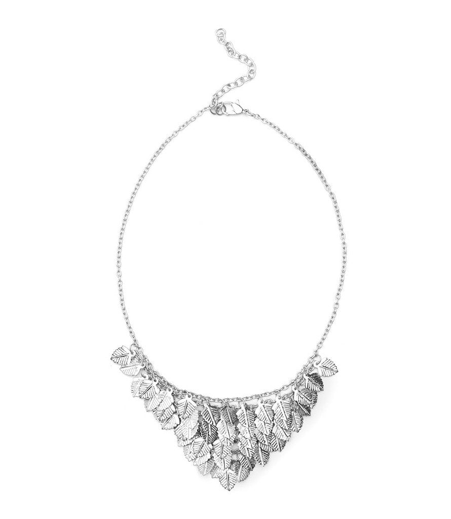 Falling Leaves Necklace - Silvertone - Matr Boomie (Fair Trade)