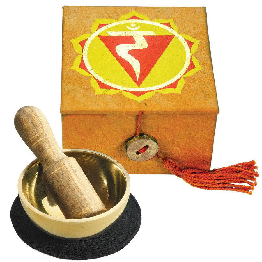 "Mini Meditation Bowl Box: 2"" Solar Plexus Chakra - DZI (Fair Trade)"