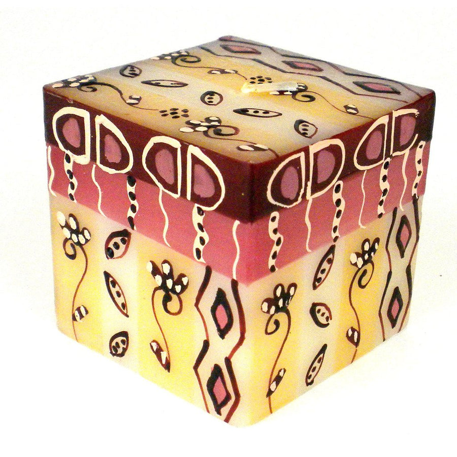 Hand Painted Candle - Cube - Halisi Design - Nobunto (Fair Trade)