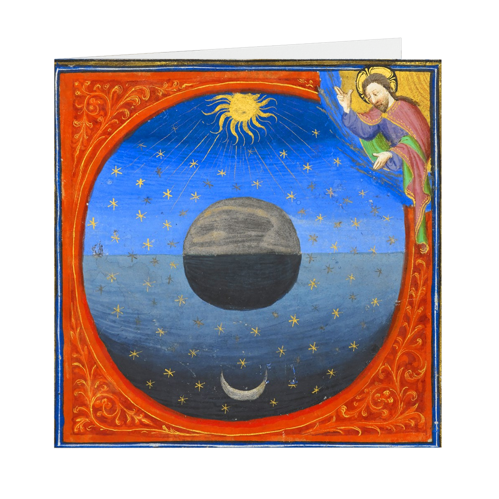 "The Creation of the Earth Medieval Illumination - 5"" X 5"" Blank Greeting and Note Card"