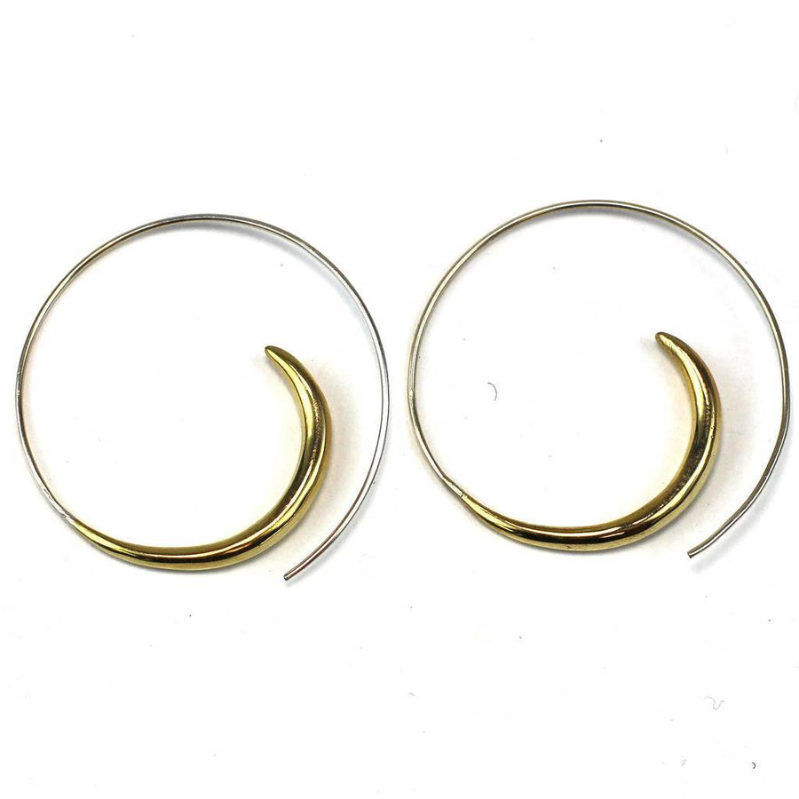Brass Rip Curl Spiral Earrings - DZI (Fair Trade)