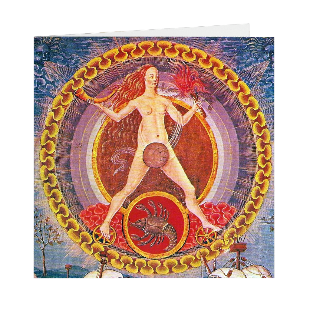 "Scorpio Rules the Moon Medieval Astrological Illumination - 5"" X 5"" Blank Greeting and Note Card"