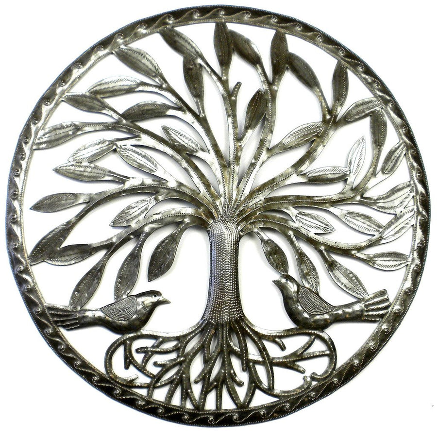 Tree of Life with Two Birds Metal Wall Art - Croix des Bouquets (Fair Trade)
