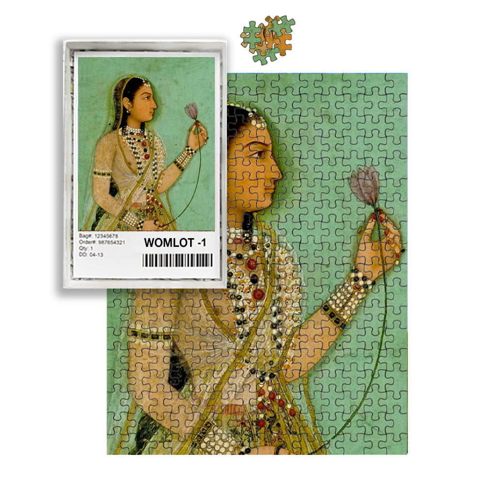 Woman Holding Lotus Indian Painting Puzzle