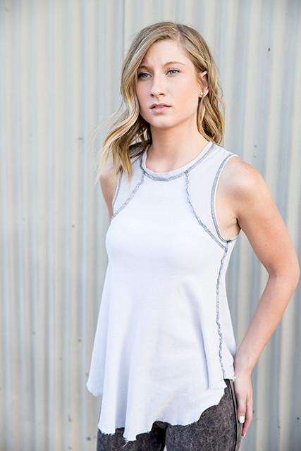 R & R Surplus - White Reverse Seam Long Tank