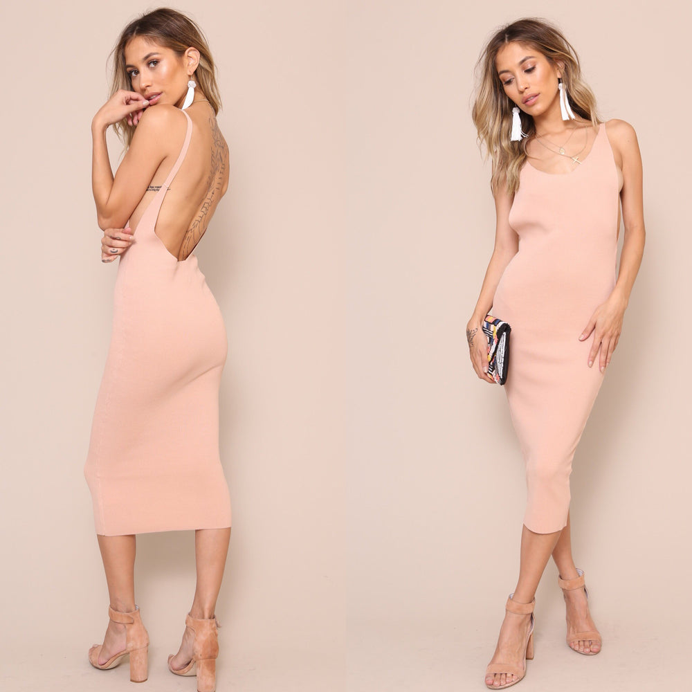 Mink pink - Knitted Bodycon Midi Dress