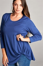Orangeshine Twist Bottom Long Sleeve Top (Plus Size)