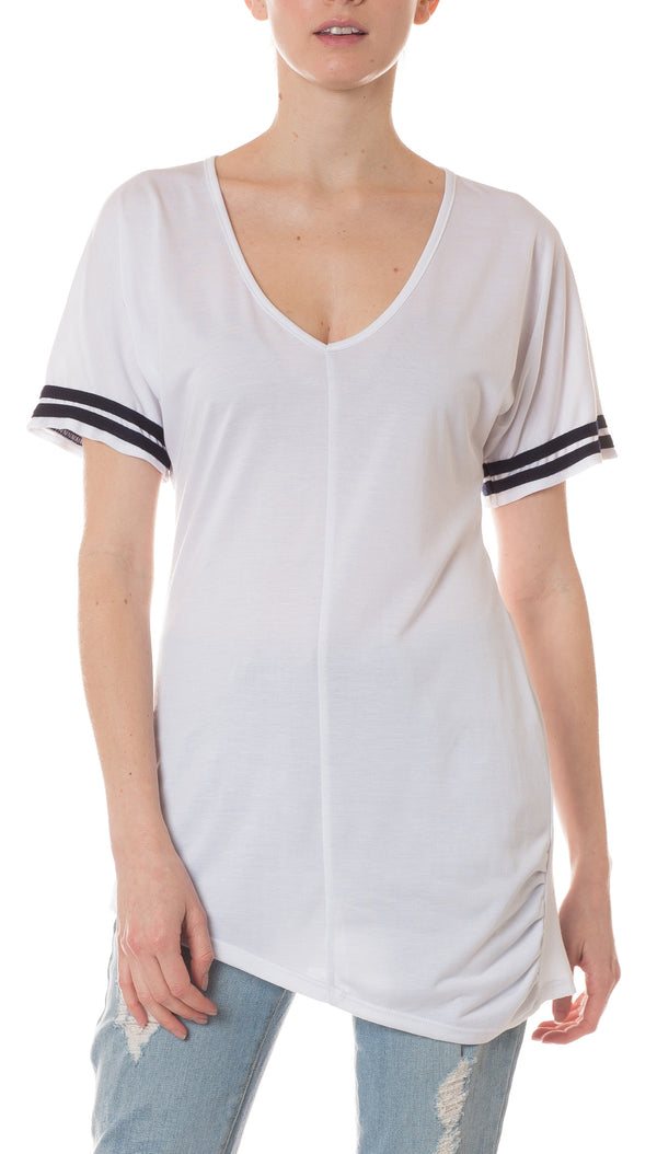 Morrison Grey - White V Neck with Blue Stripes on  Sleeves