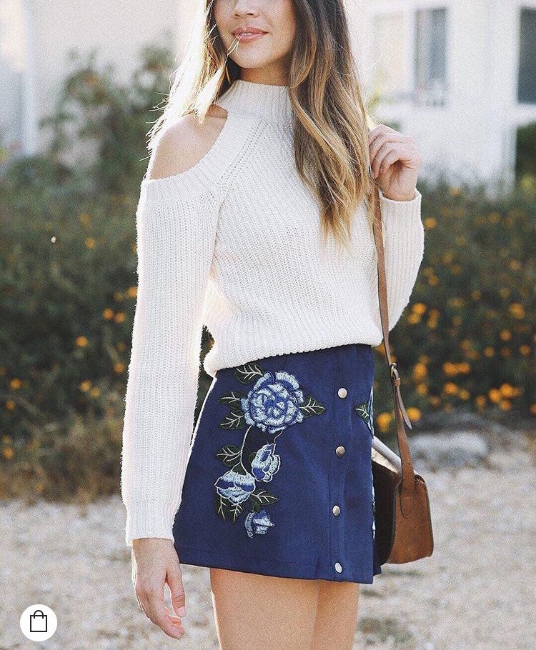 Jack by BB Dakota Floral Embroidered Button Down Mini Skirt