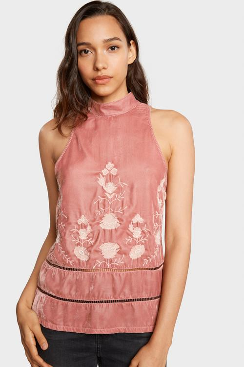 Willow & Clay - Rose Velvet Embroidered Sleevless Top