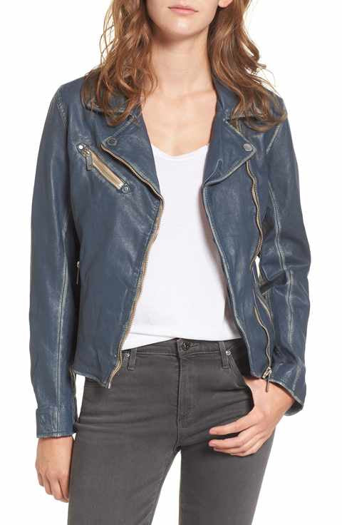 Mauritius - Leather Biker Jacket in Denim Blue