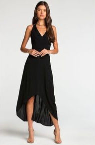 Black Side Tie Ruffle Neckline Maxi Dress by Sage The Label