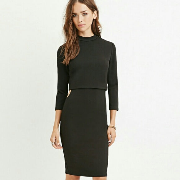 Mink pink - Midi Layered Cutout Dress in Black