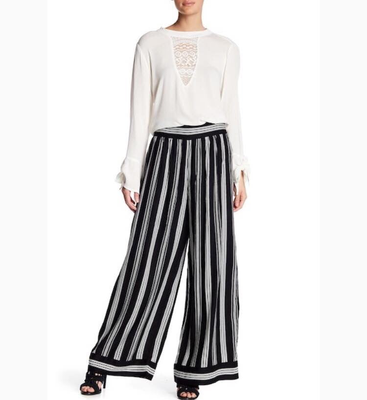 Wide Waistband Stripe Wide Leg Pant by Band of Gypsies