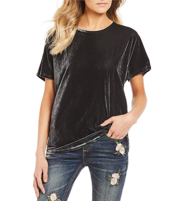 Miss Me Velvet Short Sleeve T with Tie Back Detail