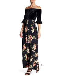 Band of Gypsies - Wide Leg Lace Up Side Floral Pant