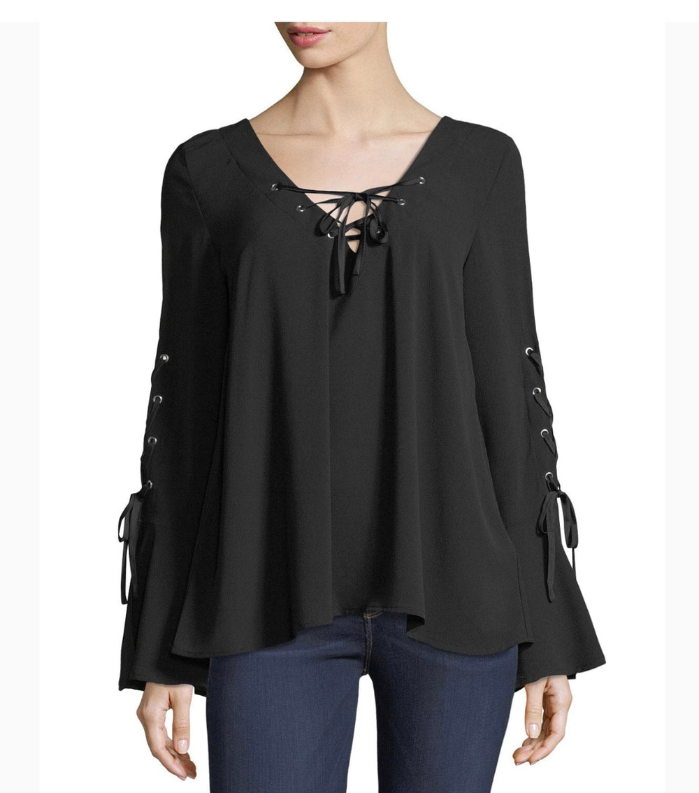 Band of Gypsies Top W/ Lace Up Front & Bell Sleeves