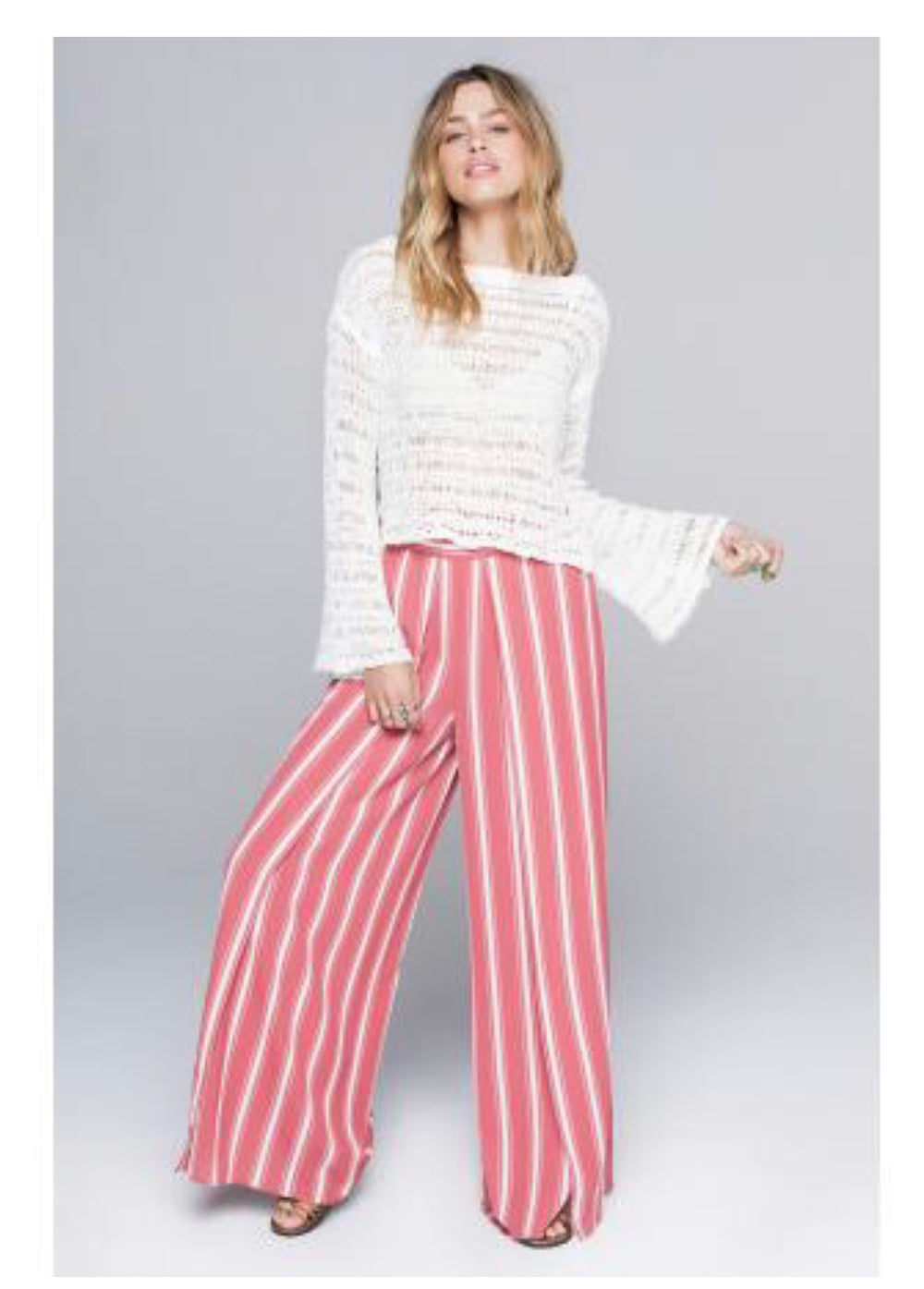 Band of Gypsies - Salmon Stripe Palazzo Pant