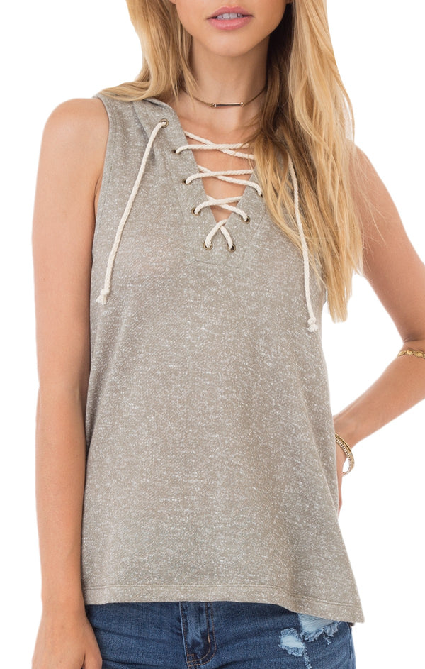 Others Follow Lace Up Hooded Shirt