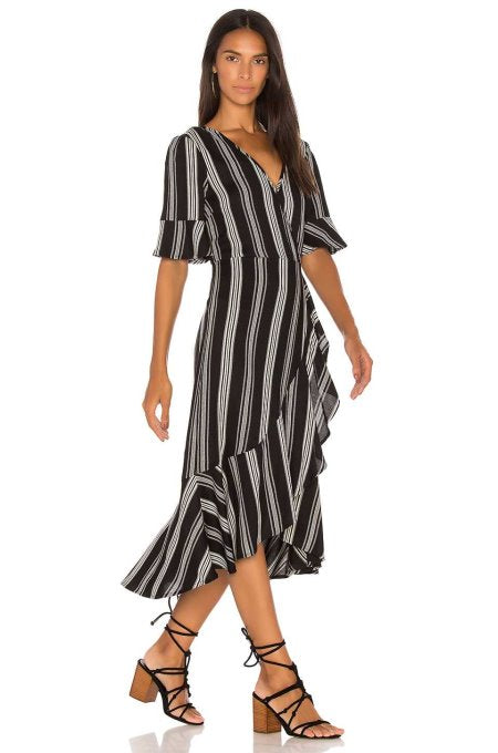 Old Style Stripe V Neck Ruffle Dress by Band of Gypsies