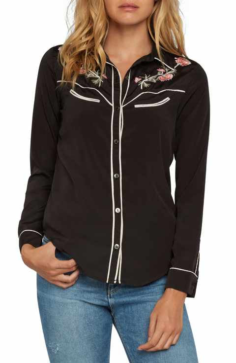 Willow & Clay Western Floral Embroidered Shirt