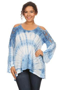 T-Party Tie Dye Lace Cold Shoulder Top (Plus Size)