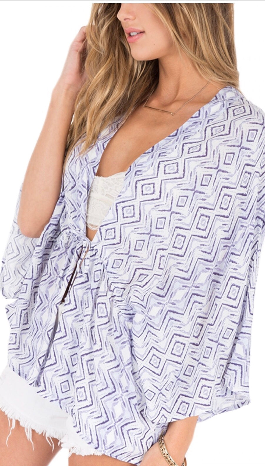 Purple & White Printed Cardigan by Others Follow