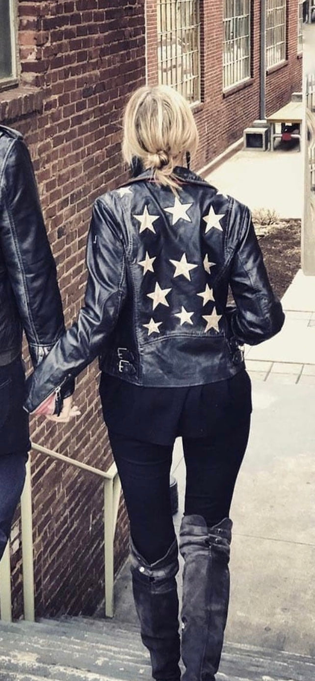 Mauritius - Leather Jacket with Stars