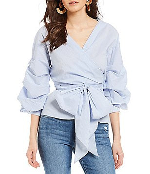 Lumière - Pinstripe Wrap Shirt with Ruffled Sleeves