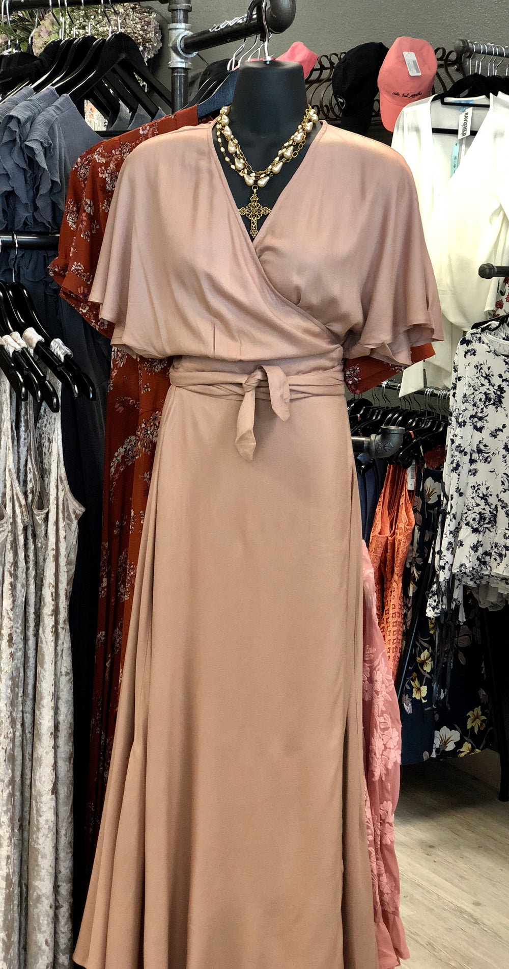 Nude Maxi Wrap Dress by Elan