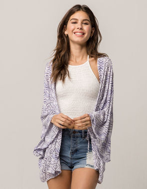 Others Follow - Purple & White Printed Cardigan