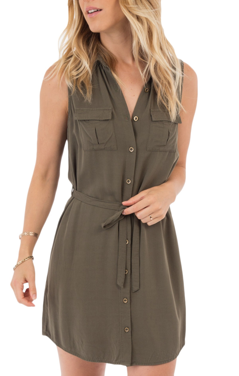 Rag Poets - Double Pocket Button Down Dress