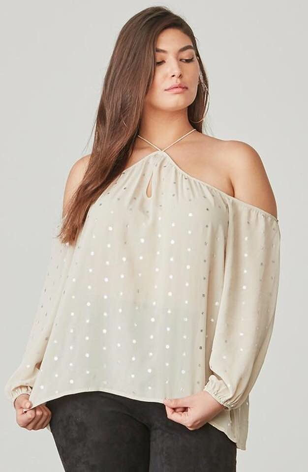 BB Dakota Cold Shoulder Metallic Top