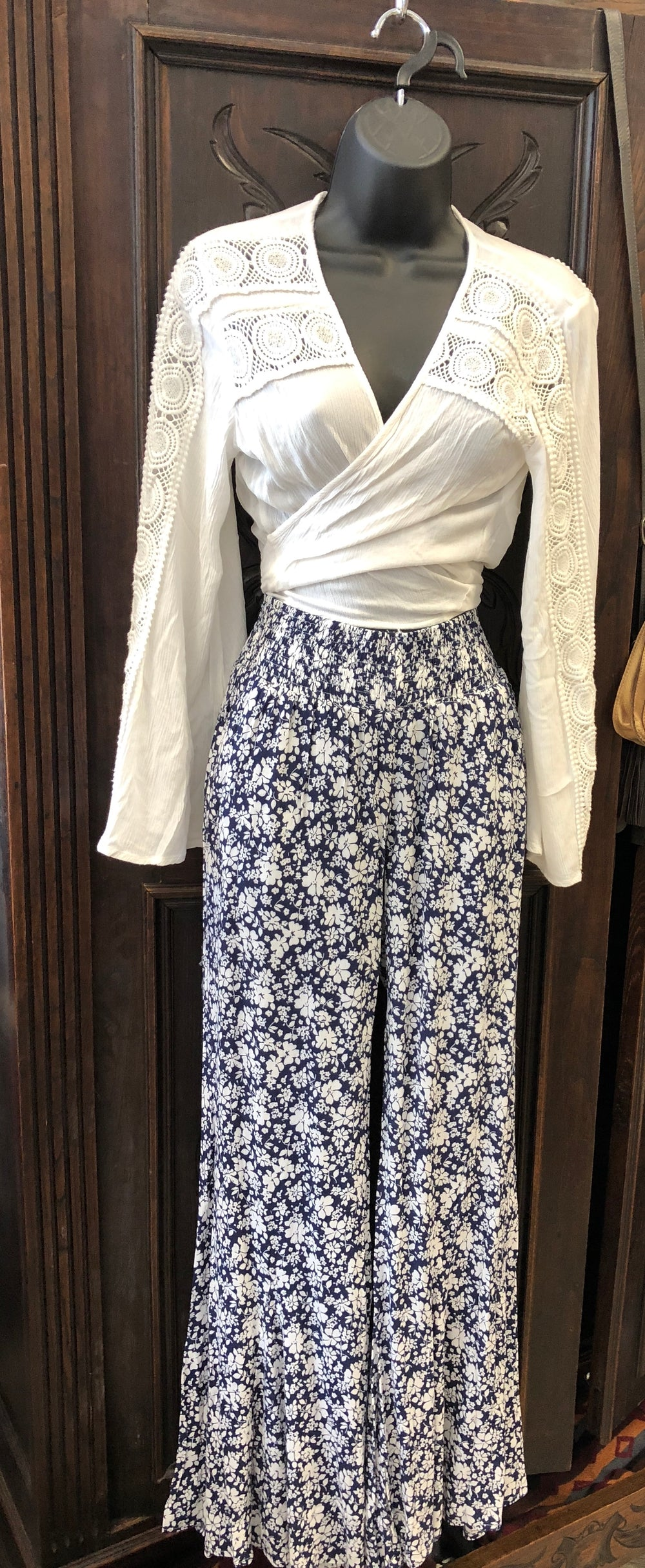 Olivaceous Floral Bell Bottom Pants Navy & White