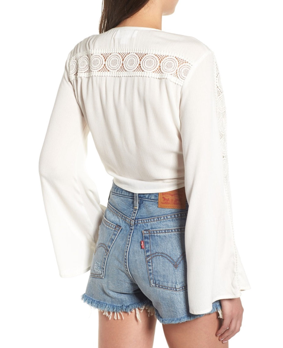 Band of Gypsies - Lace Detailed Tie Top in White