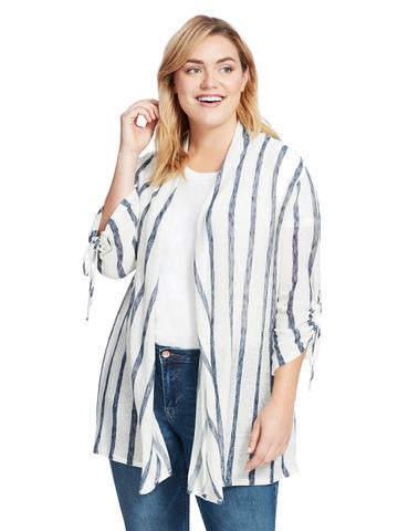 Hummingbird Blue & White Stripe Ruched Sleeve Cardigan Plus Size