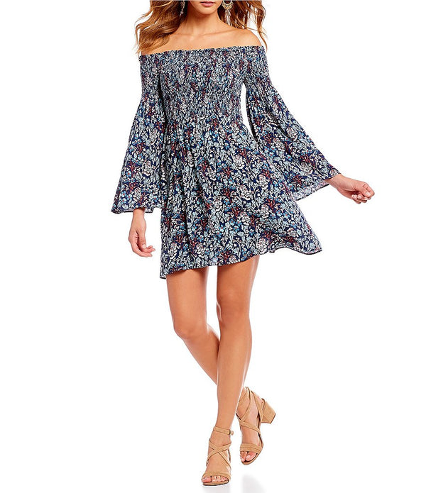 Willow & Clay Floral Bell Sleeve Off Shoulder Midi